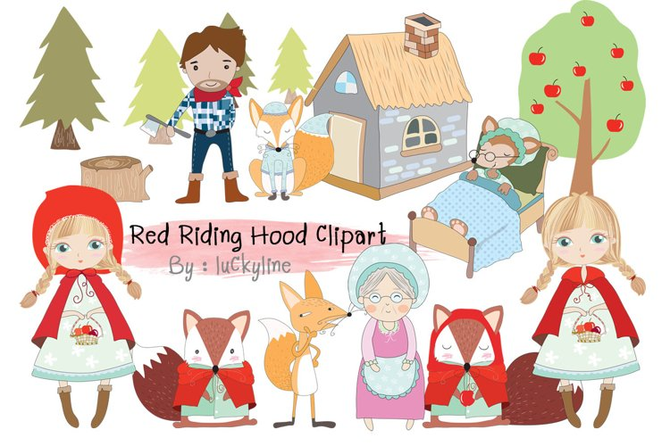 Cute Red Riding Hood Clipart, PNG file-300 dpi example image 1
