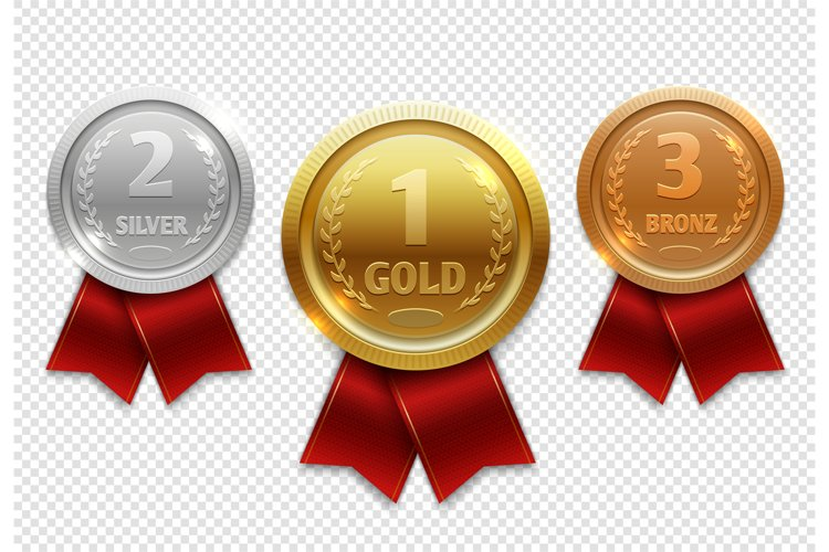 Champion gold, silver and bronze award medals with red ribbo example image 1