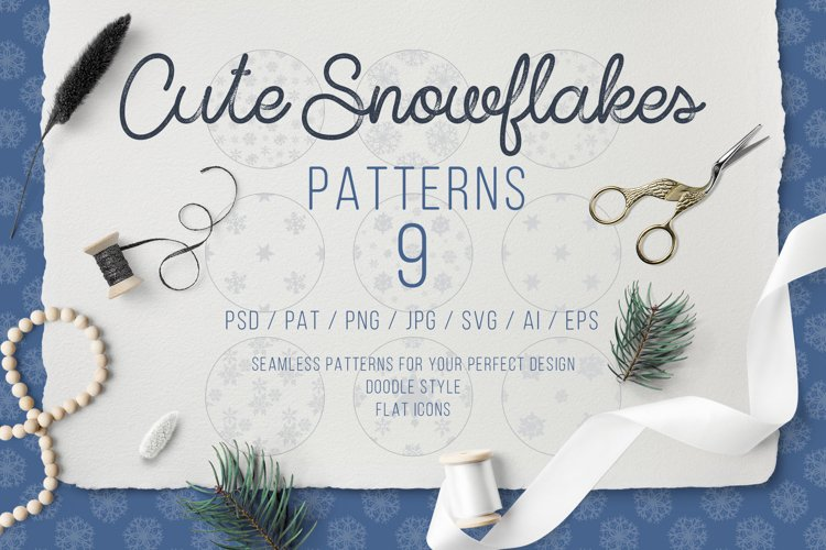 Cute Snowflakes - Winter Doodle Patterns