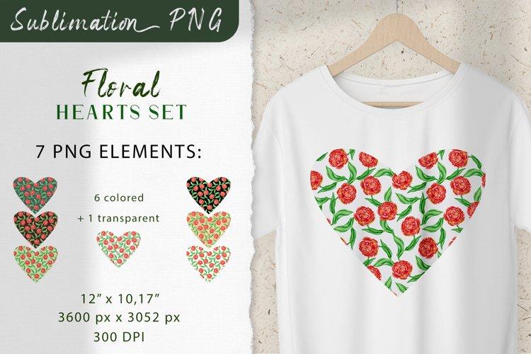 Floral Hearts Set. Valentine Sublimation PNG design example image 1