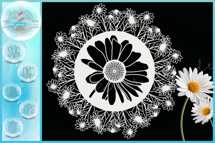 Daisies Daisy Flower Floral Mandala Zentangle SVG example image 1
