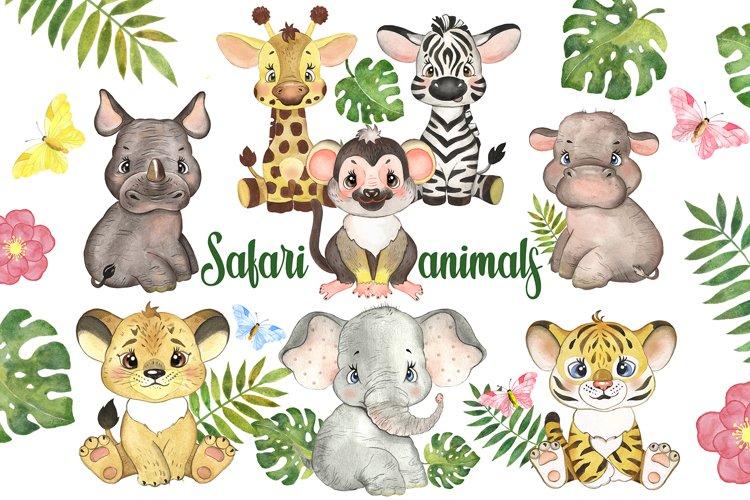Watercolor Safari Tropical Animal Clipart. Jungle animal.