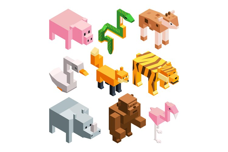 Vector pictures set of funny stylized animals. Isometric ill example image 1