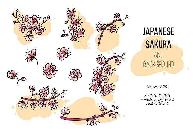 Pink Japanese Bird - Floral set example 1