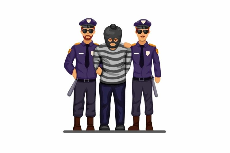 Police caught terrorist or criminal man with handcuff vector example image 1