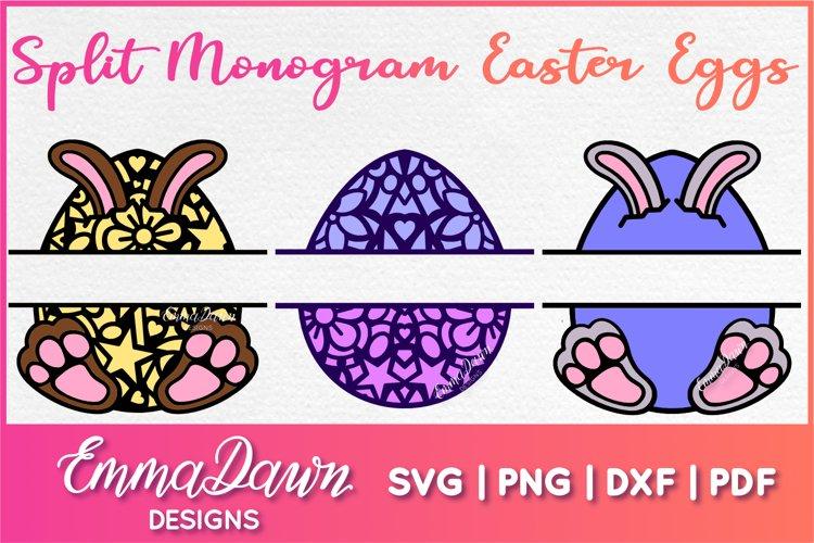 SPLIT MONOGRAM EASTER EGGS SVG 3 MANDALA / ZENTANGLE DESIGNS
