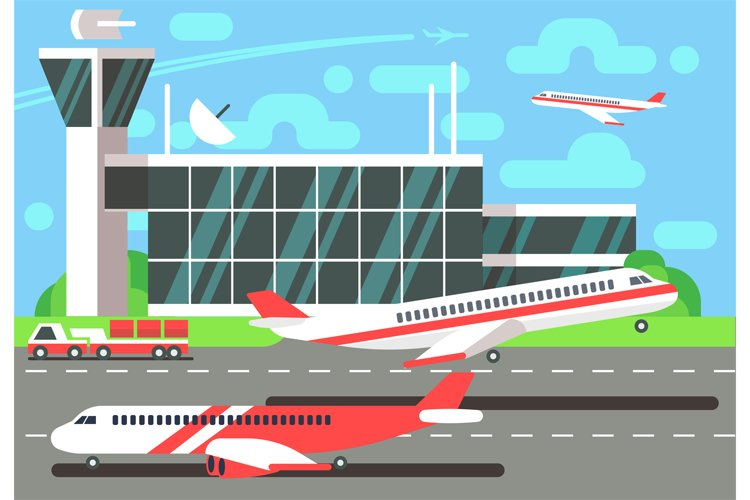 Airport flat vector illustration example image 1