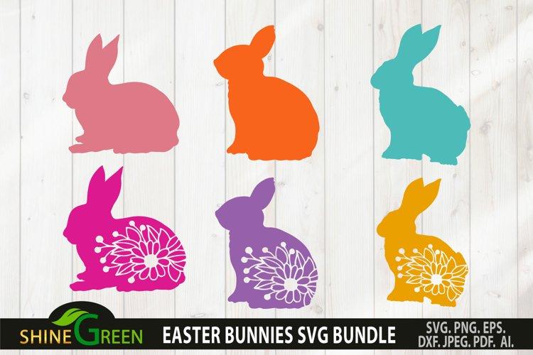 Easter Bunny Clipart SVG Bundle - Floral Bunnies Bundle example image 1