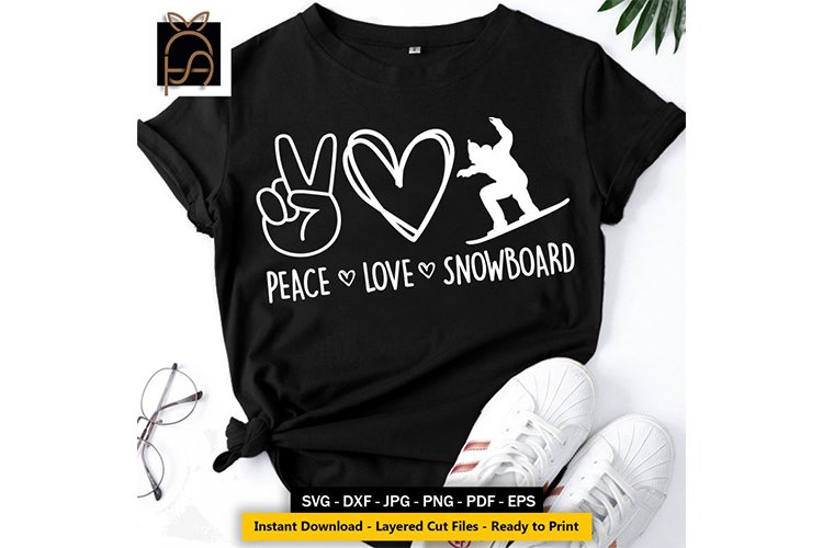 Peace Love Snowboard - Skier SVG DXF EPS PNG example image 1