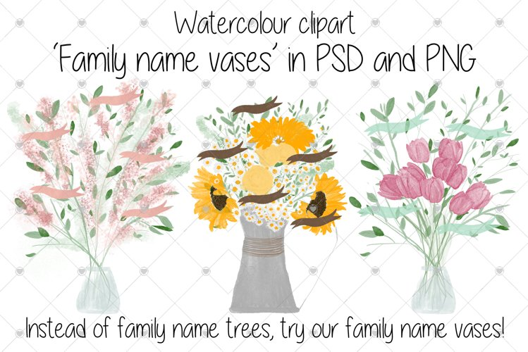 Family clipart, Watercolour clipart, flowers, example image 1