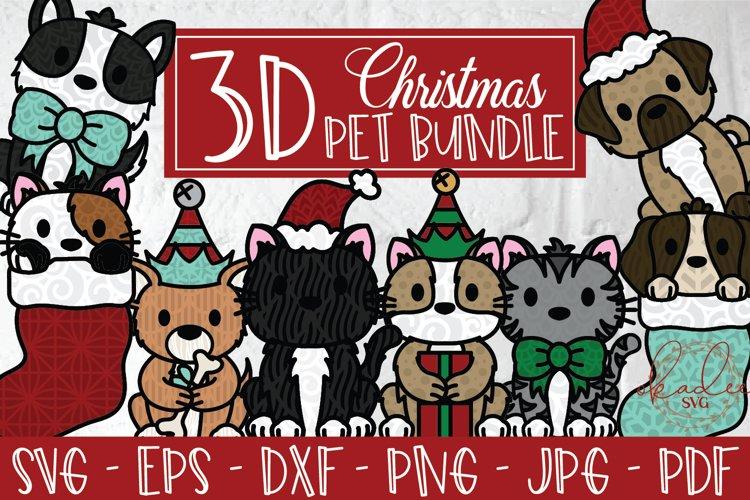 3D Christmas Pet Bundle, 3D Dog, 3D Cat, Christmas SVG, DXF example image 1