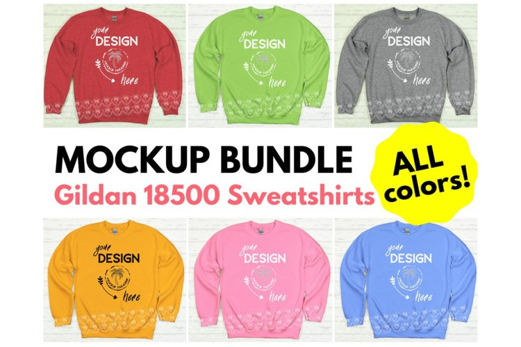Gildan 18000 Sweatshirt Mockup Bundle - All Colors! example image 1