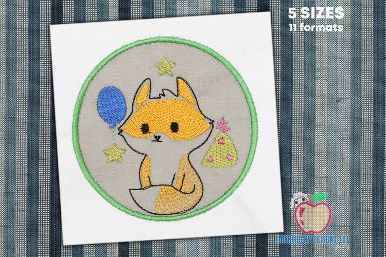 Birthday Fox in Circle Applique Design example image 1