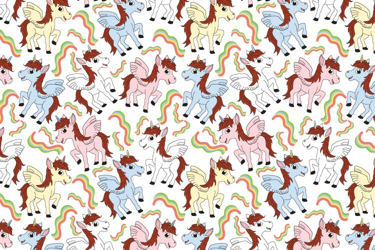 cute unicorn seamles pattern, copy space example image 1