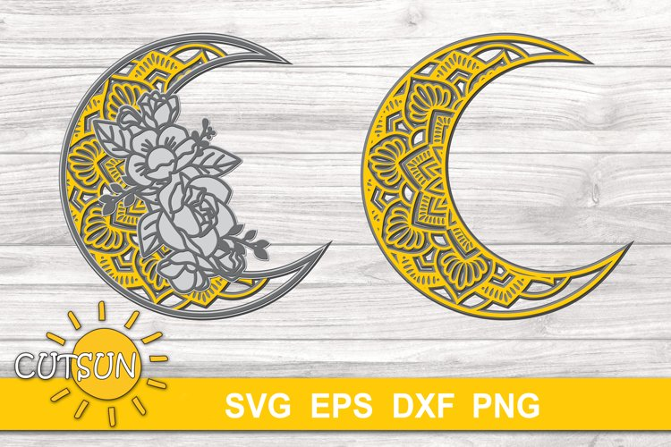 3D Layered Moon Mandala SVG   Floral mandala Moon 3D layered example image 1