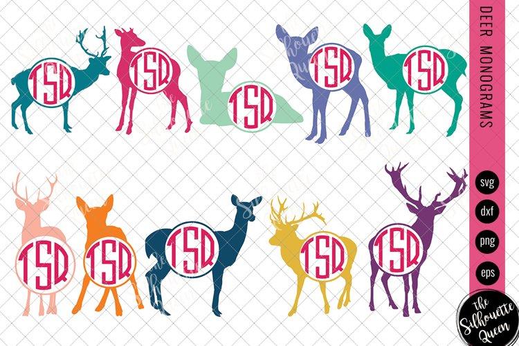 Deer Svg, Monogram Svg, Circle Frames, Cuttable Design example image 1
