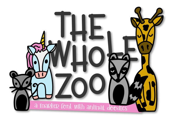 The Whole Zoo - Marker Font & Animal Dingbat Duo example image 1