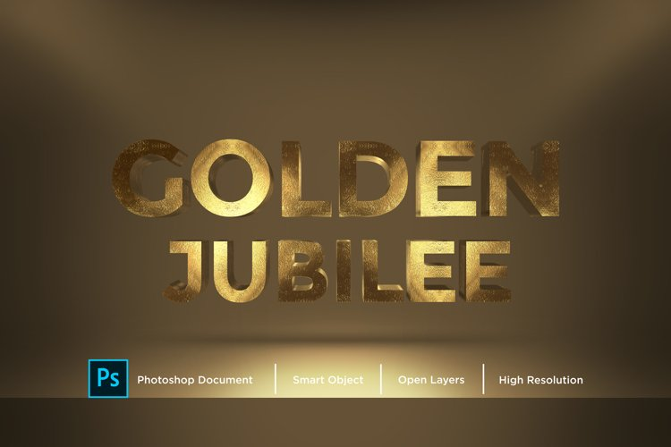 Golden Jubilee Text Effect Design Photoshop Layer Style Effe example image 1