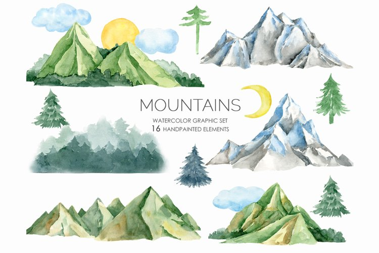 Watercolor Mountains Clipart, Mountain and tree clipart