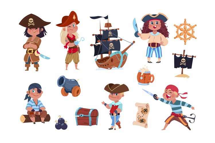 Cartoon pirates. Funny pirate captain and sailor characters, example image 1
