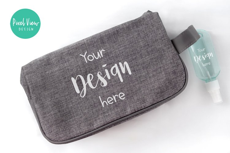 Pouch Bag with Spray Bottle Keychain Mockup