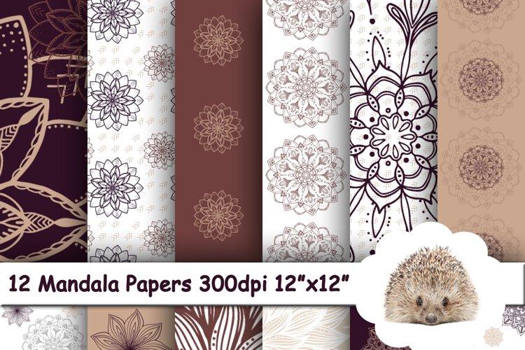 12 Mandala Flowers Paper, Geometric Background Pattern