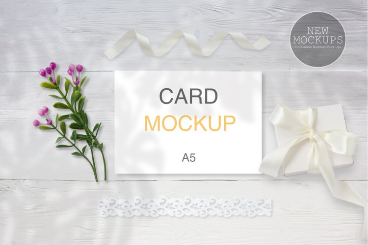 A5 Wedding Card Mockup, Invitation Mockup, Card Mockup
