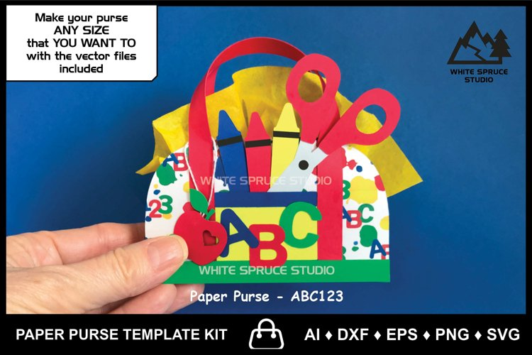 Paper Purse Template School, Digital Paper, Teacher Gift Box