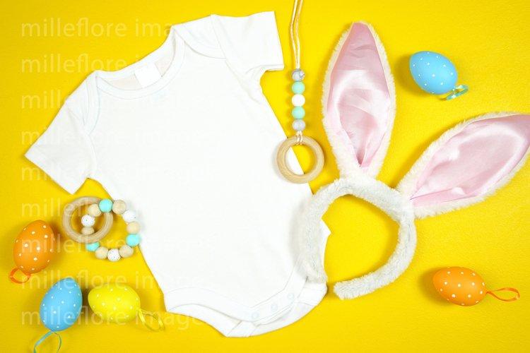 Easter Baby Bodysuit Romper Onesie Styled Stock Photo Mockup