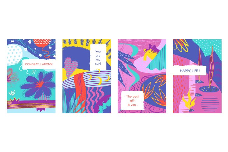 Abstract brush posters. Trendy pastel brash elements with ha example image 1