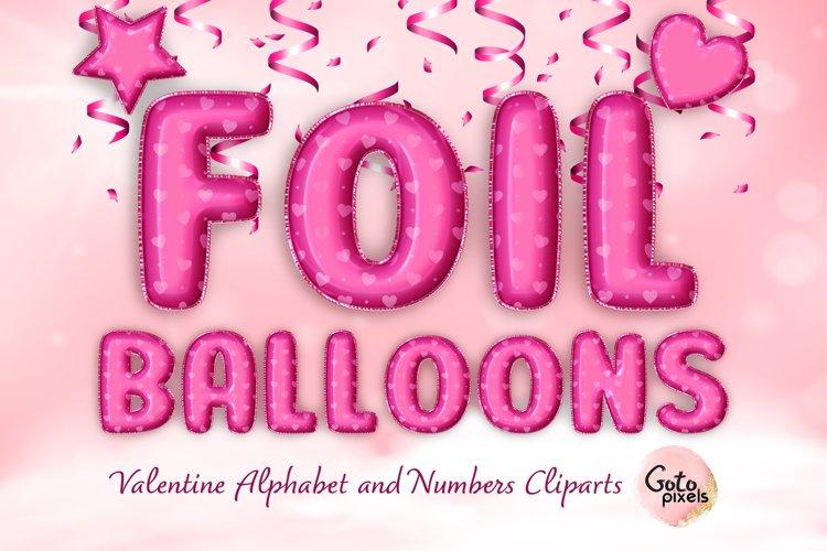 Hot Pink Foil Balloon Alphabet Clip Art - Valentine day