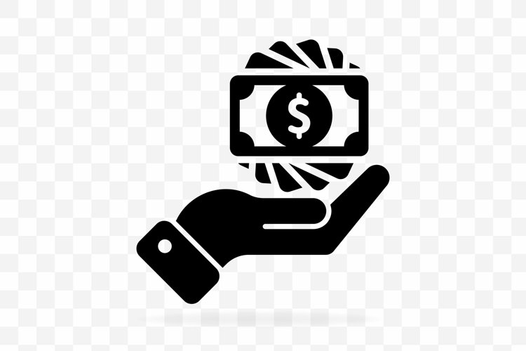Money in hand, banknote or dollar bill icon logo in black. example image 1