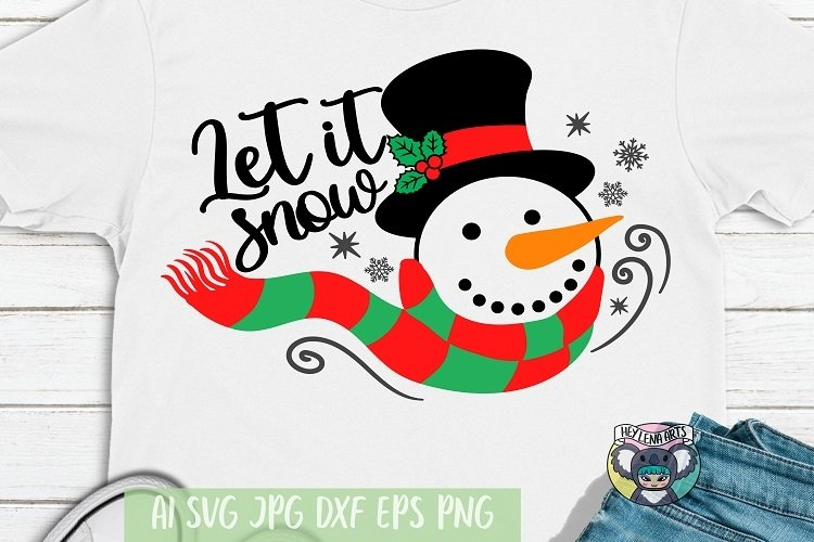 Merry Christmas svg, Let it Snow svg, Snowman svg, Cut File example image 1