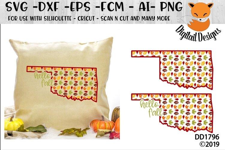 Oklahoma Autumn Fall Leaves Pattern SVG example image 1