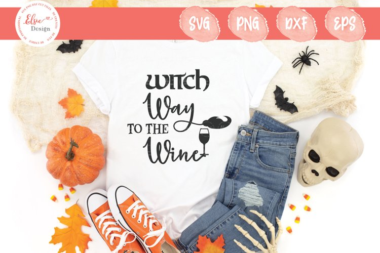 Happy Halloween- Witch Way To The Wine SVG Cut File example image 1