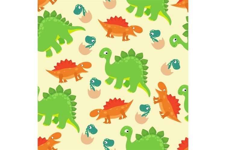 Cartoon baby dinosaur vector seamless pattern for girl fashi