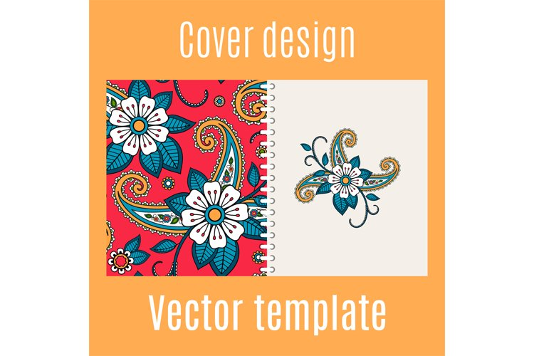 Cover design with floral indian pattern example image 1