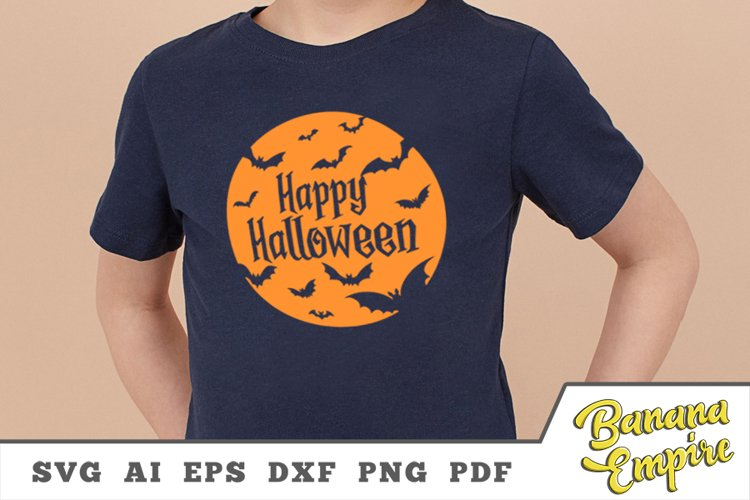 Happy Halloween Svg, halloween bat svg, Halloween shirt svg example image 1