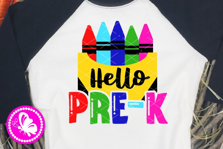 Hello Pre-K svg Crayon svg Preschool teacher Crayons Cricut example image 1