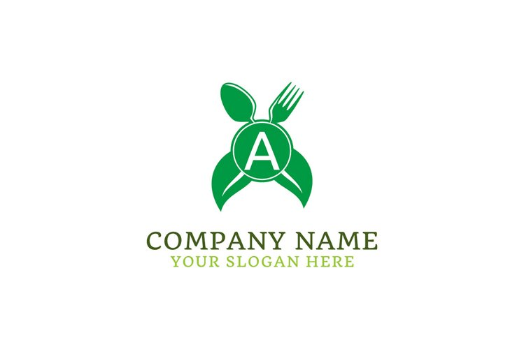 initial logo A leaf healthy spoon and fork example image 1