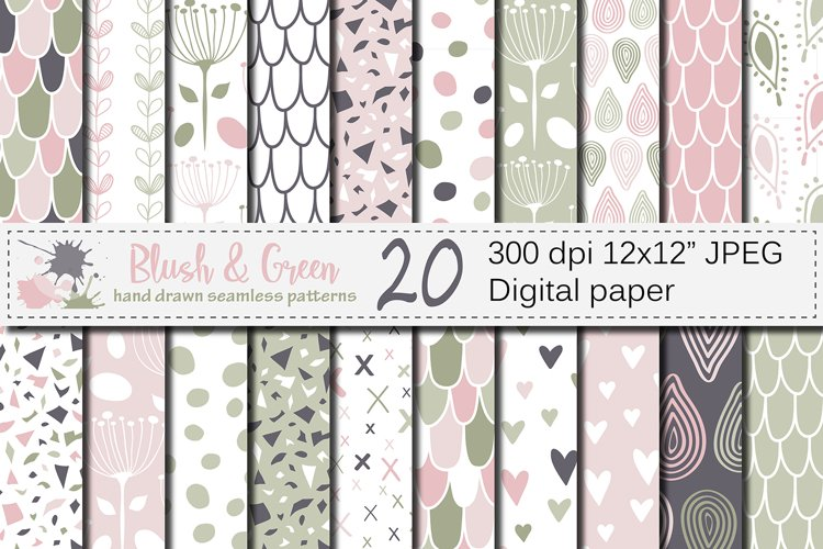Blush Pink and Green Seamless Digital Paper / Pastel Hand drawn patterns / Scales, Hearts, Leaves, Terrazzo Backgrounds