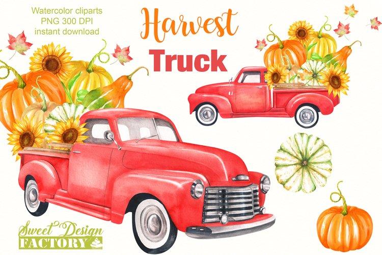 Watercolor harvest vintage truck clipart