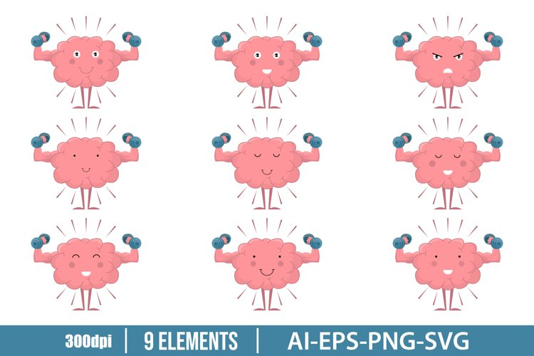 Cute brain training with dumbbell clipart