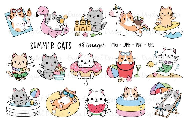 Funny Summer Cats clipart set - 18 cute Illustrations