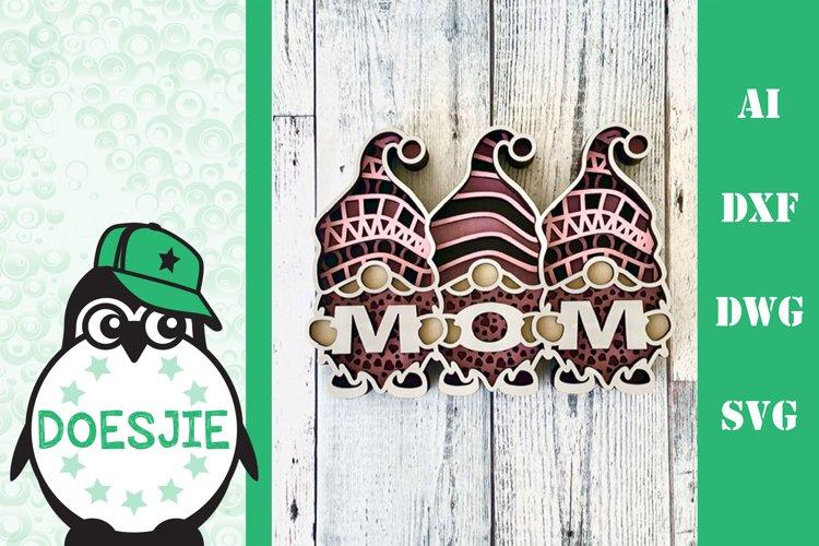 Gnome mandala Mothers Day 3D Layered SVG Multi layer gnome