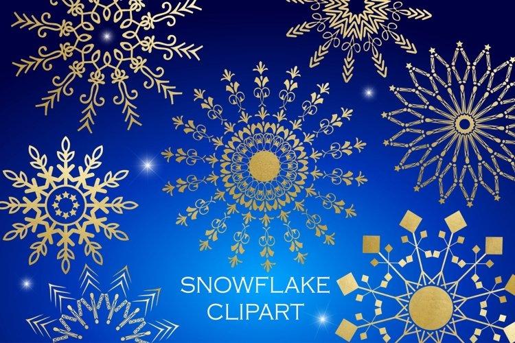 Snowflake Clipart - White Gold Blue