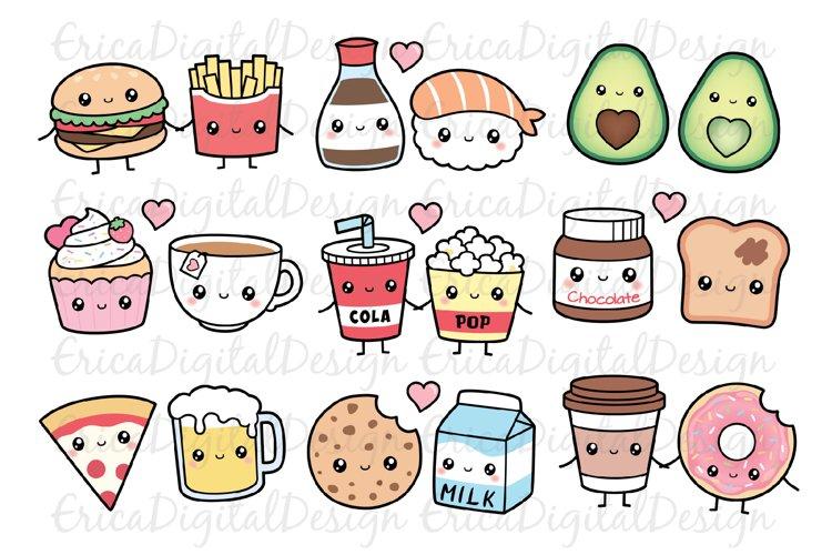 Perfect match clipart set - Kawaii food - Best Friend - Love