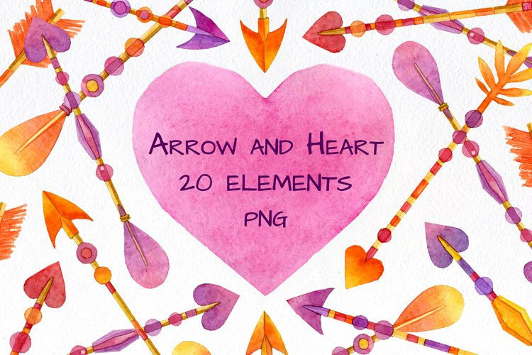 Valentine Arrow and Heart Watercolor Clipart Valentine's Day example image 1