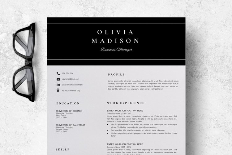 Resume | CV Template Cover Letter - Olivia Madison