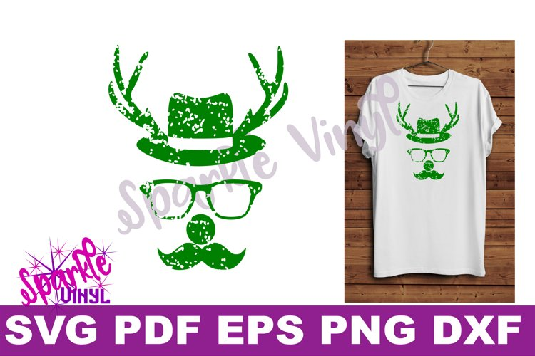 Svg Distressed Grunge Christmas vintage reindeer shirt svg files for cricut or silhouette, Reindeer with glasses red nose mustache hat svg printable example image 1